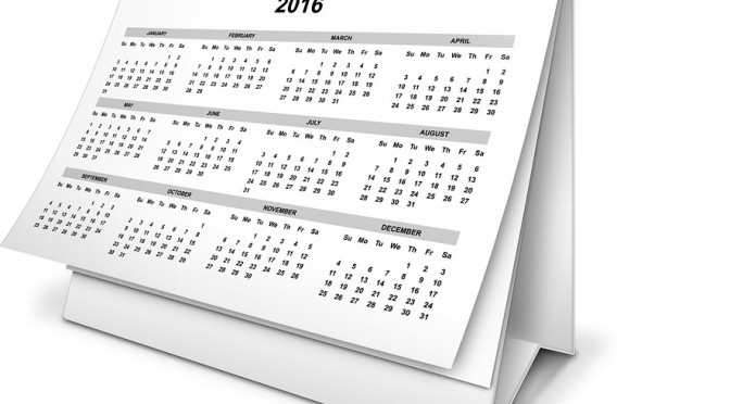 2016 Calendar of Events